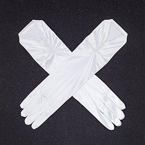 KHSKX Braut Lange Schwarze Tasche Finger Hand Perlenbesetzten Handschuhen Hochzeits - Kleid Zubehör Stufe Strecken Satin Handschuhen TascheB (Hand Perlen Tasche)
