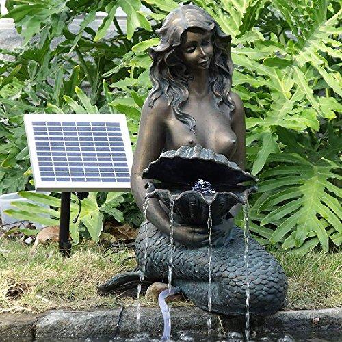 springbrunnen gartenbrunnen solar zierbrunnen teichpumpe set brunnen solar meerjungfrau. Black Bedroom Furniture Sets. Home Design Ideas