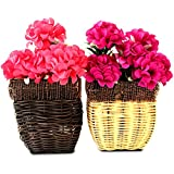 Tiedribbons® Artificial Flowers With Buckets For Decoration Set Of 2(16 Cm X 7.5 Cm) | Flower Basket With Flowers For Living Room | Diwali Home Decoration | Diwali Items For Decoration