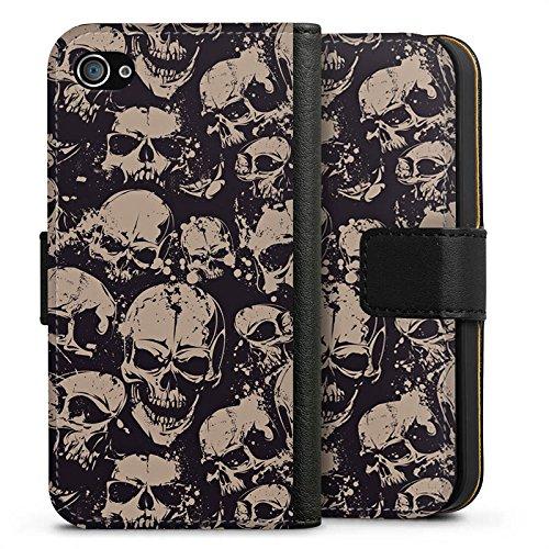 Apple iPhone X Silikon Hülle Case Schutzhülle Skull Böse Gothic Sideflip Tasche schwarz
