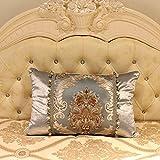 MeMoreCool Jacquard de seda fundas de almohada de delicada con purpurina bolas flecos diseño casa/oficina/hotel/coche decoración no Filler 12x 18, Golden, silvery2, 12 inch by 18 inch