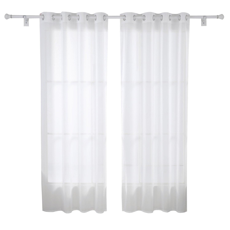Deconovo 2er Set Vorhang Transparent Gardinen Wohnzimmer Voile Senvorhang 245x140 Cm Weiss Amazonde Kche Haushalt