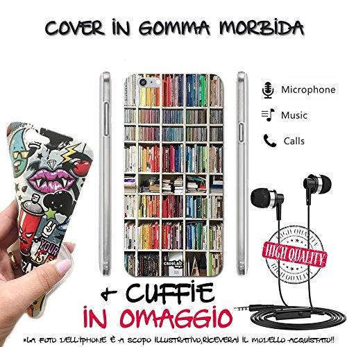 Caselabdesigns cover custodia morbida librerie colorate per sony xperia z5 premium tpuecuf - scocca in silicone protettiva antiurto + cuffie auricolari in omaggio