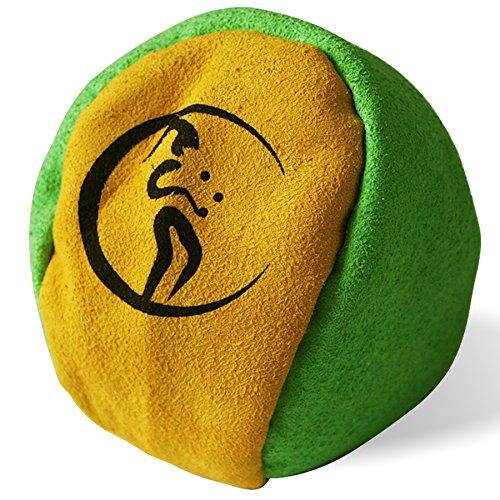 Profi Hacky Sack 2 Paneelen (Grun/Gelb) Pro Freestyle Footbag! Hacky Sacks für Anfänger, ideal für Stände, Fänge, Verzögerungen u. Tritte! -