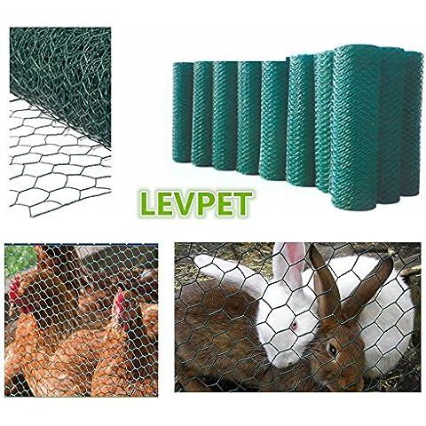 levpet Verde esagonale rivestito in PVC Pollo cavo di rete di recinzione in rete recinzione Coniglio da giardino in acciaio, 50mm, dimensioni del foro & # xFF08; 1.2mx10m)