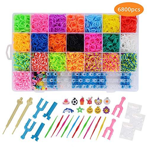FORMIZON 6800 Loom Bänder Set, Bunt Loom Bands Starter Box, DIY Gummibänder und Haken, Rainbow Loombänder für Armbänder, Kinderspielzeug für Geburtstagsgeschenk, Weihnachten -