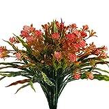 HUAESIN Künstliche Pflanzen für Innen Plastikblumen Kunststoff gefälschte Blumen Busch Künstlich Künstliche grünpflanze für Garten Balkon Topf Party Orange Rote 4pcs