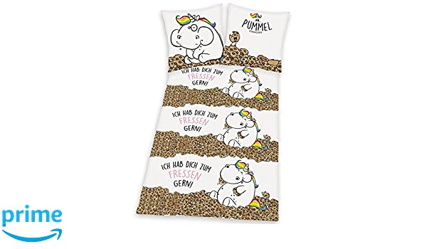 Mehrfarbig Taille Unique Lila//Wei/ß//Gestreift Pummeleinhorn Parures de lit Coton