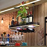 LIXIONG suspension Wine rack Bottles Holder With lights Multifunction Solid wood goblet Display Shelves ( Color : Black , Size : 80cm )