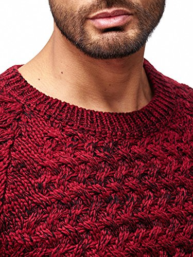 Red Bridge Herren Strickpullover Grobstrick Pulli Sweatshirt Pullover Slim-Fit Fire-Crackle TRBC Redbridge M3027 Schwarz-Bordeaux
