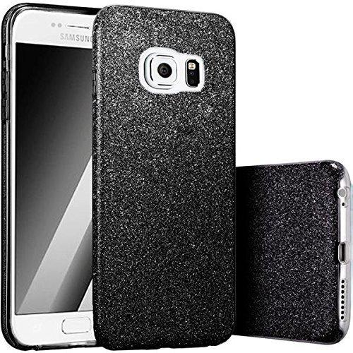 Bling Handy (FINOO | Samsung Galaxy S6 Rundum 3 in 1 Glitzer Bling Bling Handy-Hülle | Silikon Schutz-hülle + Glitzer + PP Hülle | Weicher TPU Bumper Case Cover | Schwarz)