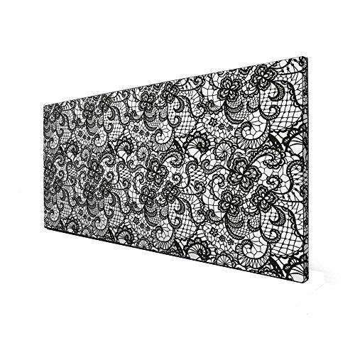 Schwarze Magnettafel von banjado | Design Memoboard 37x78cm | Metall Pinnwand mit Motiv Spitze SW