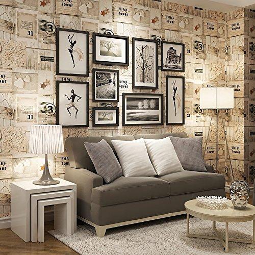 3D Wallpaper American Retro Holz Plank Tapete Mittelmeer Cafe Wand Wohnzimmer Poster Kaufen drei Get One Free ( Style : 59303 )