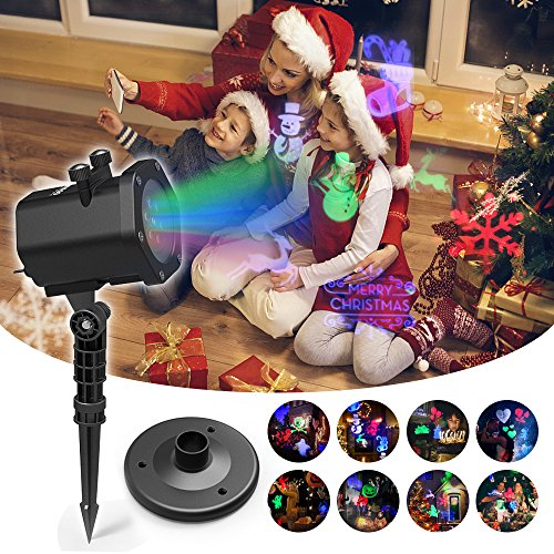 Lampe de Projecteur à LED de Noël | InnooLight | Lumière Colorée (Rouge, Vert, Bleu, Blanc) | Lampe Décorative avec 15 Motifs Etanche IP65| Lampe d'Ambiance pour Fête, Soirée, etc.