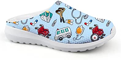 Coloranimal Cartoon Nurse stampato mulo zoccoli per le donne Slip On Backless Sandali