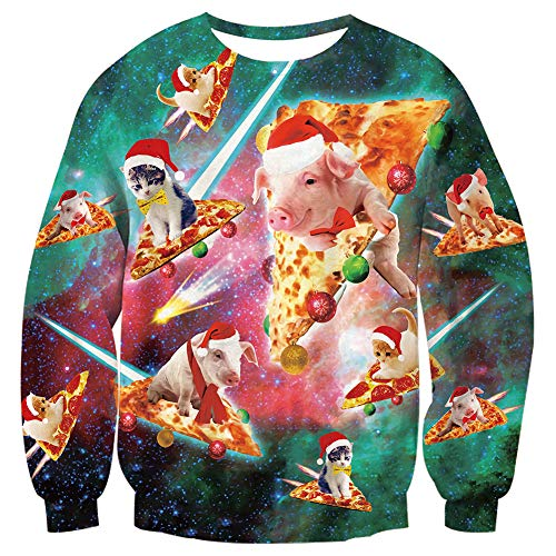 Loveternal Herren Weihnachten Sweatshirt 3D Santa Tiere Printed Casual Langarm Pullover Christmas Jumper XXL