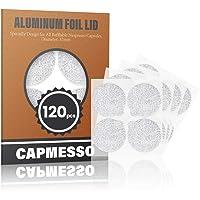 CAPMESSO Couvercles en papier aluminium autocollants pour des capsules d'espresso compatibles Nespresso 120/paquet…