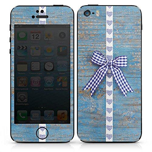 Apple iPhone SE Case Skin Sticker aus Vinyl-Folie Aufkleber Holz Look Schleife Herz Oktoberfest DesignSkins® glänzend