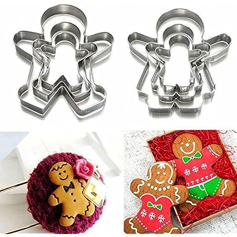 Aliciashouse 3pcs Navidad pan de jengibre hombre galleta cortador acero inoxidable acero molde
