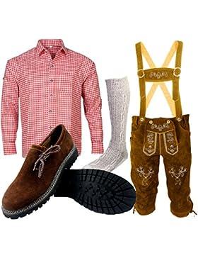 B 1 Trachtenset (Hose +Hemd +Schuhe +Socken) Bayerische Lederhose Trachtenhose Oktoberfest Leder Hose Trachten