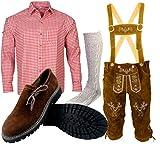 B 1 Trachtenset (Hose +Hemd +Schuhe +Socken) Bayerische Lederhose Trachtenhose Oktoberfest Leder Hose Trachten (Hose 52 Hemd 40/41)
