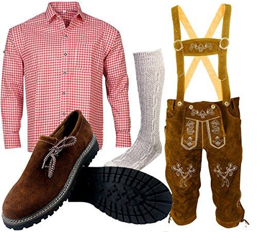 ALL THE GOOD B 1 Trachtenset (Hose +Hemd +Schuhe +Socken) Bayerische Lederhose Trachtenhose Oktoberfest Leder Hose Trachten (Hose 54 Hemd 42/43) -