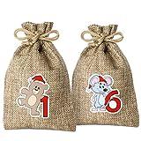 Adventino Adventskalender mit 24 Säckchen zum Selberfüllen (Filzsäckchen oder Jutesäckchen) von Adventino