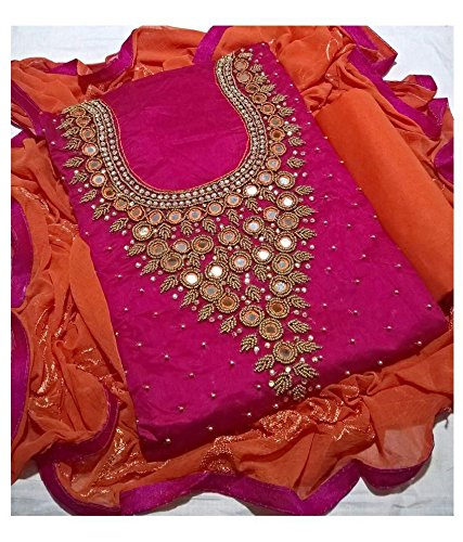 Creativeswilla Pink handwork Chanderi Dress Material