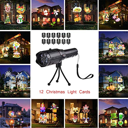 Zrr torcia a led portatile natale proiezione lampada 12 modello, proiettore palmare palmare festival decorazione per natale, halloween, pasqua, compleanno e festa