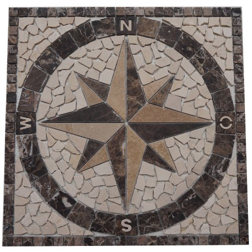 Antikmarmor Rosone 60x60 cm Windrose Mosaik Einleger Fliesen Emperador Dark Marmor 019 - Marmor-matte
