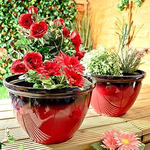 Glazed Effect Plastic Garden Plant Pots Planters Outdoor Red Set