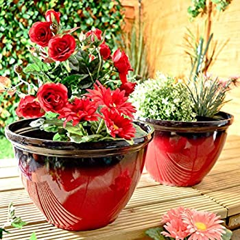 Glazed Effect Plastic Garden Plant Pots Planters Outdoor Red Set Of 2 / Pair