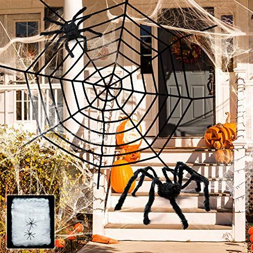 Halloween Riesen Spinnen Netz Große Gefälschte Spinne Kleine Spinne Strecken Spinnennetz Dekoration für Halloween Dekorationen Outdoor Yard Dekor Spuk Haus (Stil C)