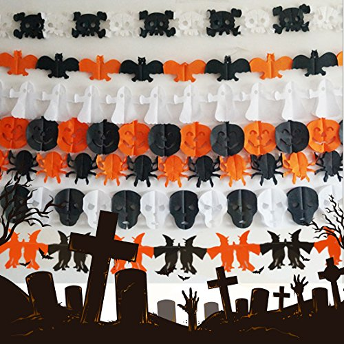 alloween Dekoration Papier Girlande Happy Halloween zum Aufhängen Prop Scary Atmosphäre (Friedhof Halloween Dekoration Ideen)