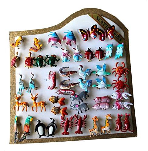 Anstecker-Set in Box, 48 Stk., sortierte Motive, Anstecknadel, Schmuck, Freizeit, Kindergeburtstage, Giveaway, (Huhn Kostüm Tanz)