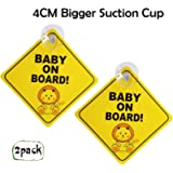 Maglory Baby On Board Sign For Car With 4CM Bigger Suction Cup, Baby On Board Sign For car, 2 Pack Cute Diamond Shape…