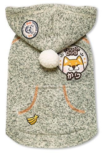 Touchdog hd5ogmd Hippie ärmellos Pompon Pet Dog Hooded Pullover Jacket, Medium, Olivgrün (Dog Life Jacket Extra Klein)