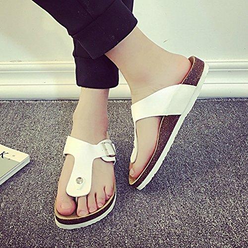 Unisex-Erwachsene Zehentrenner - Komfort-Sandalen Kork Pantoletten Sandaletten Weiß