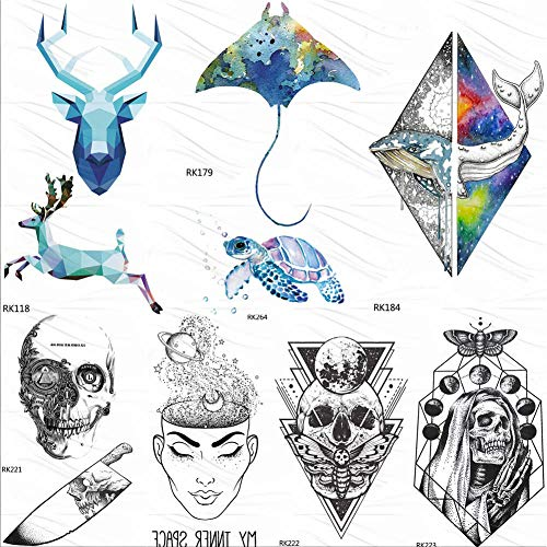 Kamrl tattoo adesivi elettrico pesce tartaruga acquerello tatuaggi temporanei adesivo geometrico dolphin elk tattoo art personalizzato falso tatuaggio teschio