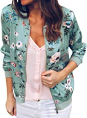 Outtop(TM) Women's Ladies Retro Floral Zipper up Bomber Jacket Casual Coat Outwear