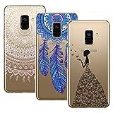 Yokata 3 Packs Samsung Galaxy A8 2018 Hülle Transparent Handytasche TPU Silicone Bumper Ultra Dünn Slim Durchsichtig Premium Kratzfest Motiv Handyhülle -Mandala Windmühle Mädchen und Schmetterling