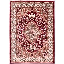 TAPISO COLORADO Teppich Klassisch Kurzflor   Orientalisch Teppiche In Rot  Creme Mit Floral Medaillon Ornament Muster
