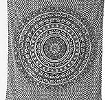Tapiz de Mandala estilo bohemio y hippie, de diseño indio, para colgar en la pared de dormitorios, de 239 x 216 cm apróx., color blanco y negro