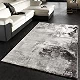 Teppich Modern Designer Teppich Leinwand Optik Grau Schwarz Weiss Meliert, Grösse:80x150 cm