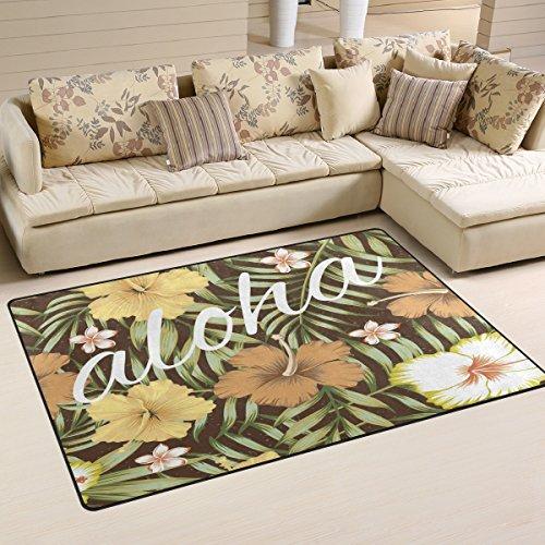 COOSUN Slogan Aloha Tropische Blätter Hibiskus braun Bereich Teppich Teppich Rutschfeste Fußmatte Fußmatten für Wohnzimmer Schlafzimmer 78,7x 50,8cm, Textil, Multi, 60 x 39 inch (Hibiskus Fußmatten)
