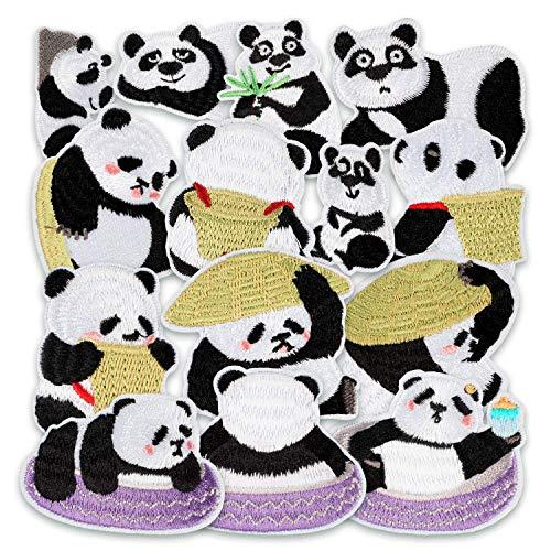 MUSCCCM Bügelflicken Kinder, 14 Stück Patches zum Aufbügeln Panda Aufnäher Applikation Flicken Zum Aufbügeln für DIY T-Shirt Kleidung Taschen