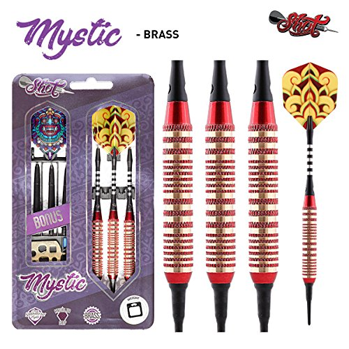 Shot Darts Mystic Red-Soft Tip Dart Set-18gm-Centre Weighted-Colour Plated Brass Barrels (Dart-board Protector)