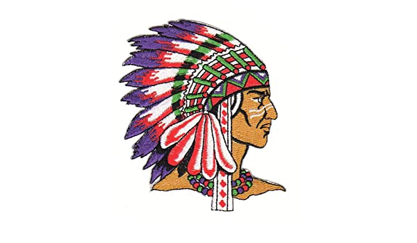 S/üdstaaten Feathers-Native American Chief Sew-On Iron-On Patch CA