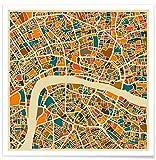 """JUNIQE® Poster 20x20cm City Maps London - Diseño """"London"""" (Formato: Square) - Láminas, Impresiones en papel & Imagenes por artistas independientes - Grabados e imágenes de Londres - diseñado por Jazzberry Blue"""