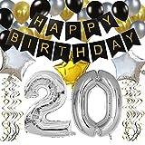 KUNGYO Classy 20. Geburtstag Party Dekorationen Satz- Schwarz Happy Birthday Banner ,Silber 20 Mylar Folienballon, Star & Latex Ballon,Hängende Wirbel,Perfekt Alles Gute Zum Geburtstag Zubehör Für 20 Jahre Alt.
